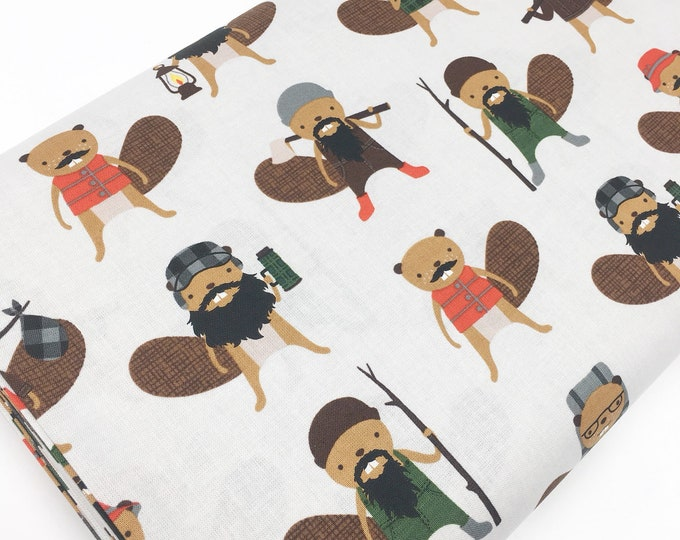 Cotton Fabric by the Yard, Quilting Fabric, Campsite Critters, Beaver Fabric, Camp Outdoors, Gift for Baby, Beaver in Earth, Choose the cut