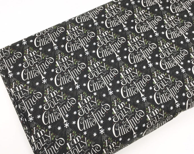 Christmas Cotton Fabric for Christmas Quilts or Crafts, Hearthside Holiday by Moda Fabrics, Black Christmas Tree, choose the cut