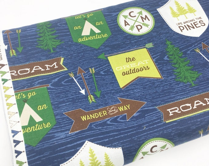 Outdoors fabric, Hike Camp Fish Hunt, Boy Room Decor, Baby Quilt, Tree Arrow, Blue Brown, Outdoors Main in Blue - Choose the cut