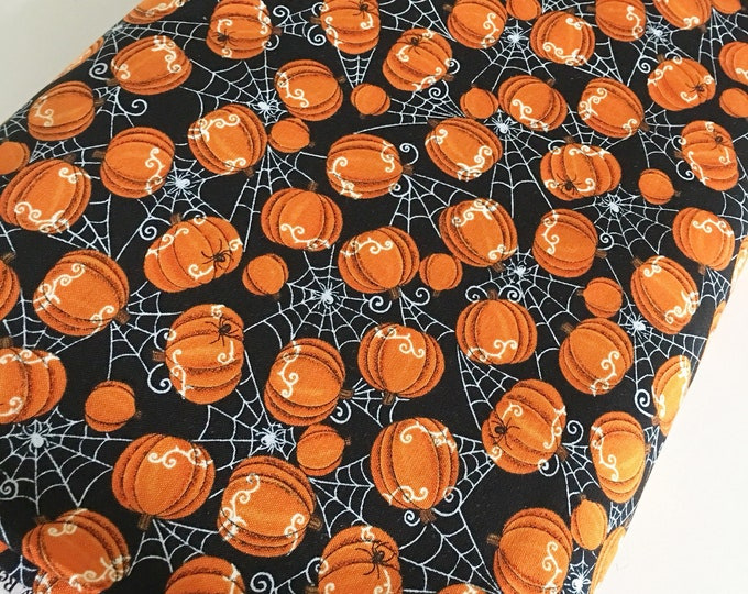 Halloween Fabric, Halloween Party Decor, Skull, Witch, Spider, Fabric by the Yard, Bewitching Spider Pumpkins in Black, choose the cuts