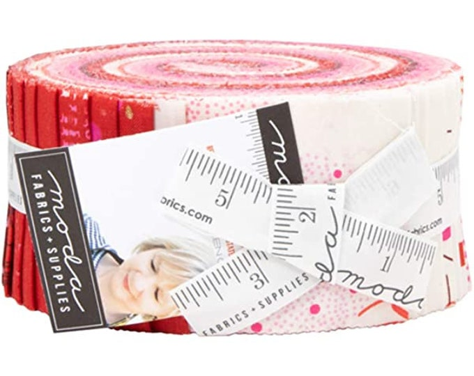 "Jelly Roll Precut by Moda Just Red by Zen Chic, 100% cotton, 2.5"" strips for quilting, sewing"