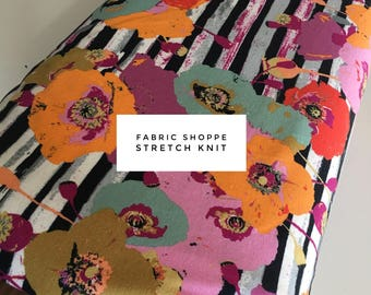 Jersey Fabric, Jersey KNIT fabric, stretch spandex cotton blend, Stretchy fabric, Leggings, Headband fabric, Stretch fabric- Floral Stipe