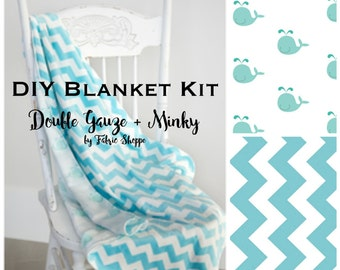 DIY Quilt Kit, Baby Boy quilt, Baby Blanket Kit, Double Gauze Fabric, Whale Fabric, Chevron, Baby fabric, Baby Gift,  Make it Yourself