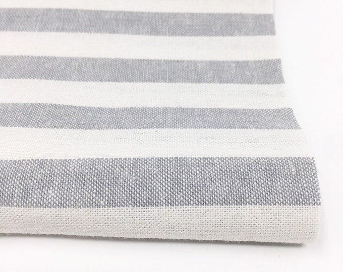 Essex Linen Classic Yarn Dyed Wovens, Linen Blend fabric,  Apparel Fabric, Dress fabric, Striped Linen, Essex Wovens Stripe in Steel