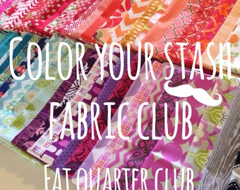 Fabric Club, Color Your Fabric Stash Monthly Club, Gift for Quilter, Free Aurifil Thread, Gift for Her- 8 Fat Quarters per month