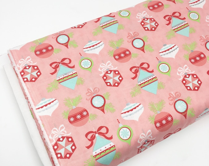 Christmas Fabric, Vintage Holiday fabric by Thimble Blossoms and Moda Fabics, Holiday Ornaments in pink, Choose the Cut