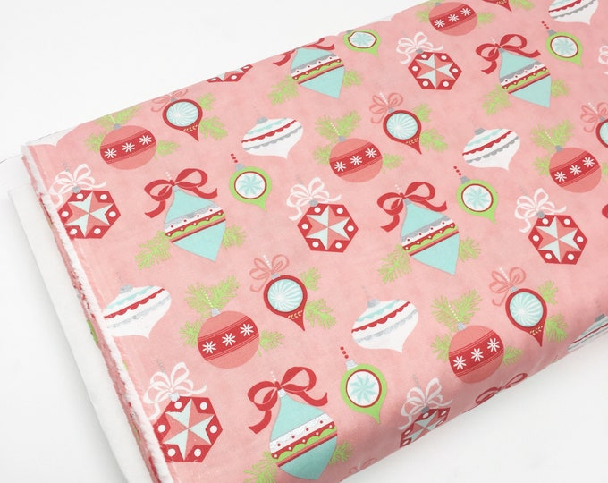 Christmas Fabric, Vintage Holiday fabric by Thimble blossoms, Christmas Quilts, Holiday Ornaments in pink, choose the cut
