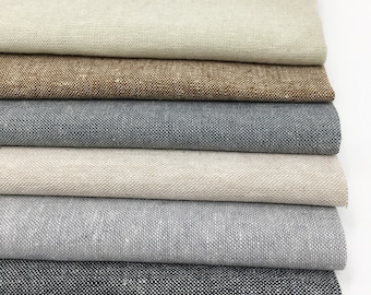 Linen Fabric, Essex Yarn Dyed Linen fabric bundle, Dress Fabric, Quilt Bundle, Robert Kaufman, Fabric bundle of 6