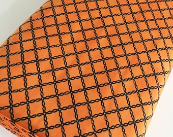 Halloween Fabric, Halloween Party Decor, Skull, Witch, Spider, Fabric by the Yard, Bewitching Iron Gate in Pumpkin, choose the cuts
