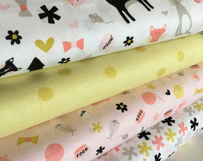 Cotton Fabric, Cat Fabric, Cat Lady fabric, Gift for Pet, Pet Lover, Cat Lover, Meow by Riley Blake, Fabric Bundle of 4 - Choose the Cut