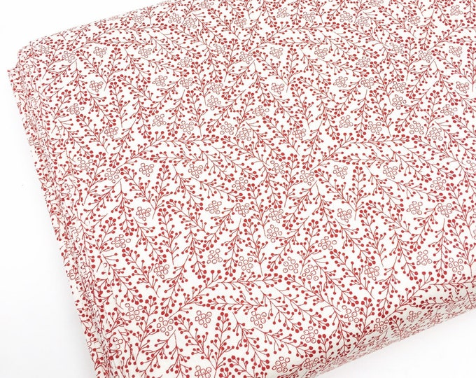 Christmas Cotton Fabric for Christmas Quilts or Crafts, Special Delivery by Moda Fabrics, Red Floral, choose the cut