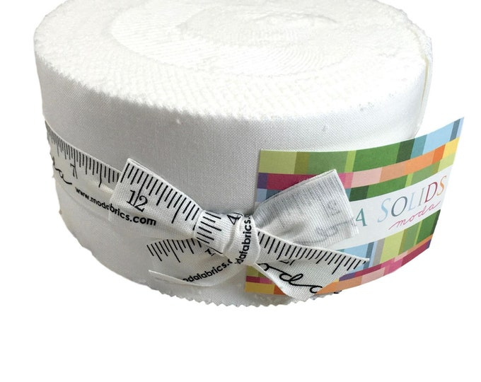 "Jelly Roll Precut by Moda Bella Solids 100% cotton, 2.5"" strips for quilting or face mask project, Bleached White"