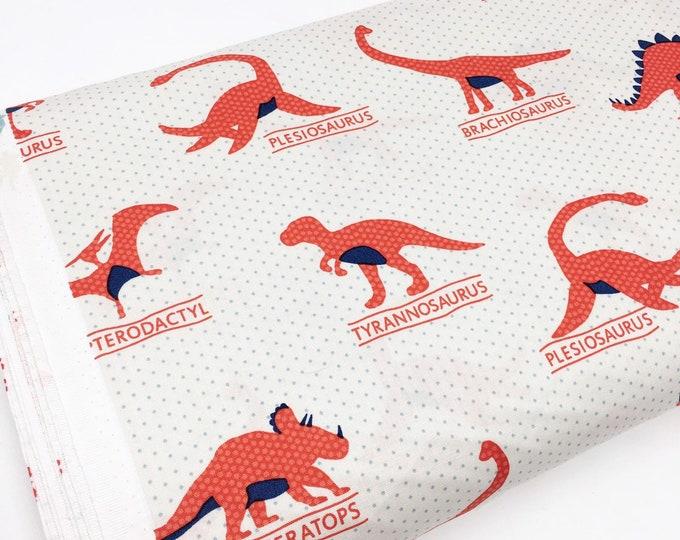 Dinosaur Fabric, Boy Quilt, Nursery Fabric, Dino Party, Dinosaurs by Robert Kaufman, Dino Main in red - Choose the cut