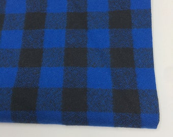 Blue Plaid, Mammoth Plaid Flannel, Black Plaid, Lumberjack Party Flannel, Plaid Scarf fabric, Robert Kaufman, Mammoth Flannel in Blue
