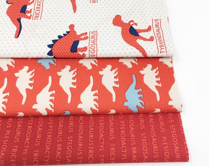 Dinosaur fabric bundle for baby quilt cute red fabric Bundle of 3- Choose the Cut