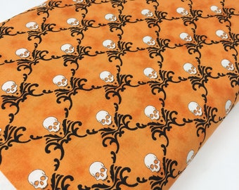 Halloween fabric, Halloween Decor, Halloween party fabric, Eerily Elegant by Moda, Halloween Fancy Skulls Orange, Choose the cut