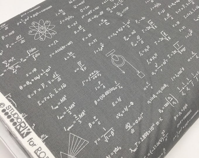 Science Fair Fabric, Surgery Cap fabric, Chemistry, Biology, Science Fabric, School, Nerd, Math Fabric, Equations in gray, Choose the Cut
