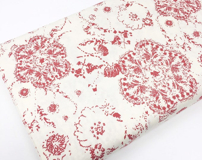 SALE fabric, red floral cotton fabric by the yard, Yardage for Quilting or Sewing, Discount fabric
