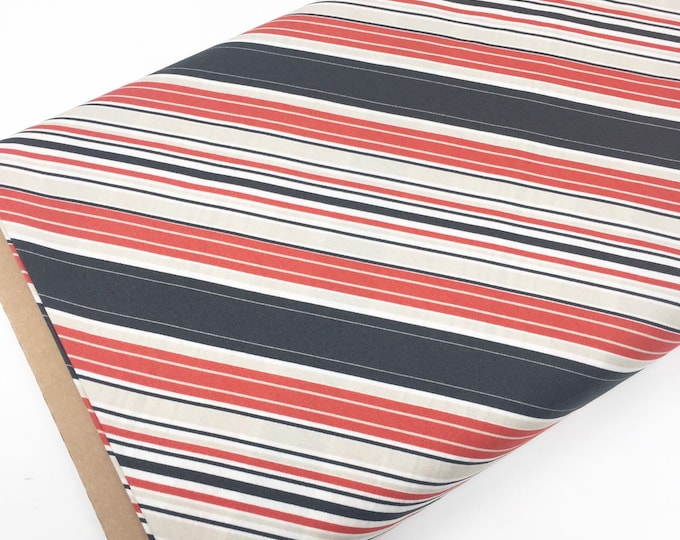 SALE fabric, red black stripe cotton fabric by the yard, Yardage for Quilting or Sewing, Discount fabric