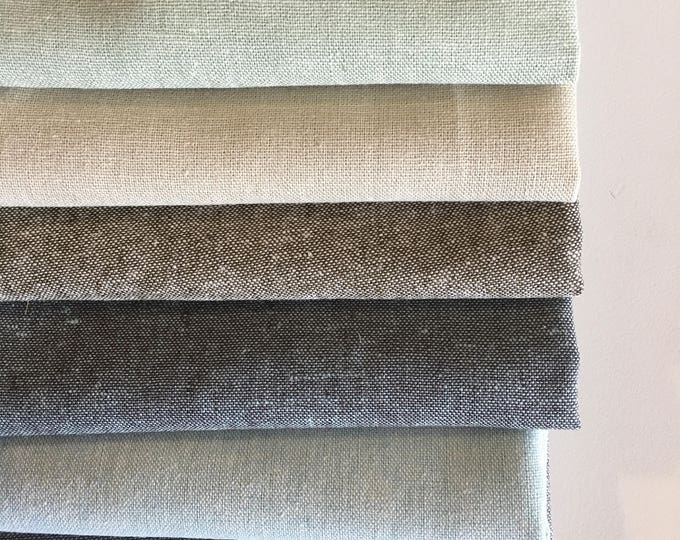 Linen Fabric for Linen Napkins or Cloth Napkins, Home Decor, Rustic Wedding Fabric, Essex Yarn Dyed Linen Fabric bundle of 6, Choose the cut