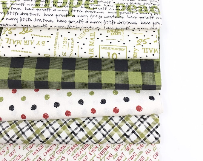 Christmas fabric bundle, Christmas Quilting or Crafting, Green Plaid Polkadot, Special Delivery by Moda- Holiday Fabric Bundle of 6
