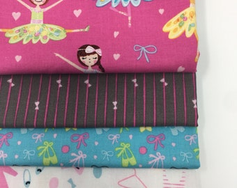 Dance Ballerina Bows girls fabric Bundle of 4, Choose the Cuts