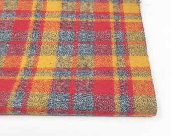 Woven Flannel fabric by the yard, Mammoth Flannel, Medium Plaid in Crimson 107, Choose the cut