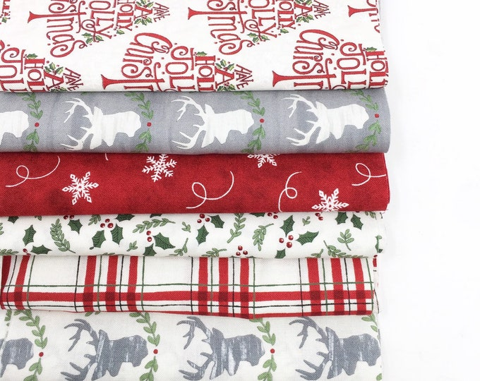 Best Fabric Bundles, Christmas fabric bundle Cotton Fabric by the Yard, Hearthside Holiday Bundle of 6, You choose the cut