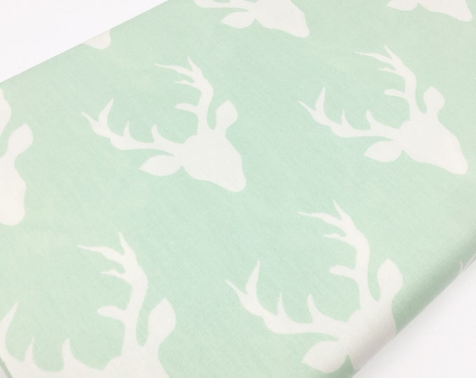 Hello Bear fabric, Deer Quilt fabric, I Spy Fabric, Mint Nursery Decor, Mint Green Ivory - Buck Forest Mint, You Choose the Cut