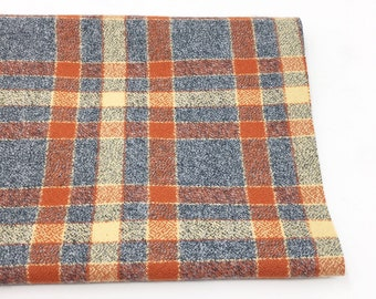 Gray, orange plaid flannel fabric, cozy gray plaid Flannel by the yard, by Robert Kaufman, Mammoth Flannel in harvest