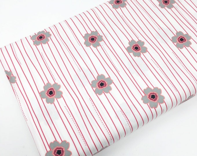 SALE fabric, red black stripe floral cotton fabric by the yard, Yardage for Quilting or Sewing, Discount fabric