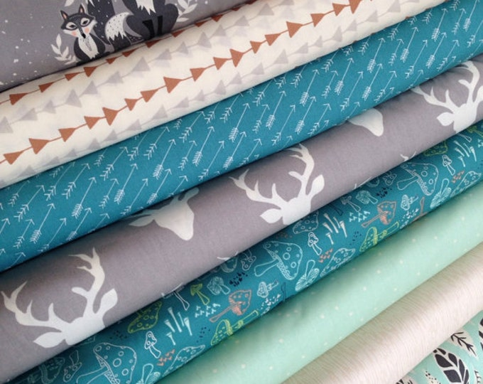 Cotton Fabric, Baby Bedding Fabric, Baby blanket fabric, Patchwork Quilt Fabric, Woodland Nursery Fabric, Bundle of 8- You Choose the Cut