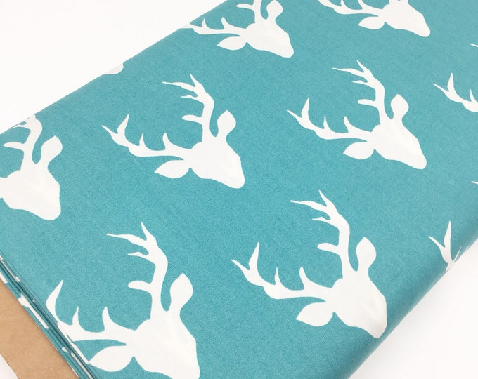 NEW Buck Forest in Lake, Aqua Nursery, Woodland Baby Quilt, Hello Bear, Deer Crib Bedding Fabric, Turquoise Deer fabric, You choose the cut