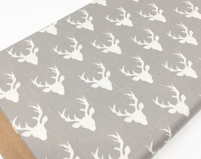 NEW MINI Buck Forest in Mist, Woodland Baby Quilt, Deer fabric, Hello Bear fabric, Rustic Home Decor, Gray Deer fabric, You choose the cut