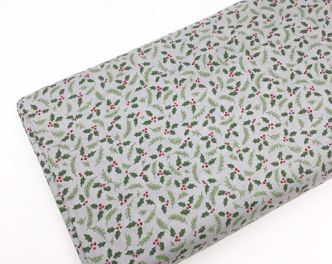 Christmas Fabric for Christmas Quilts or Crafts, Hearthside Holiday fabric by Moda Fabrics, Hearthside Holiday Holly in Gray, choose the cut