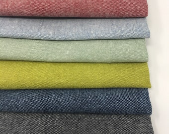 Linen Fabric, Essex Yarn Dyed Linen fabric bundle, Dress Fabric, Toddler Dress Fabric, Quilt Bundle, Robert Kaufman, Fabric bundle of 6