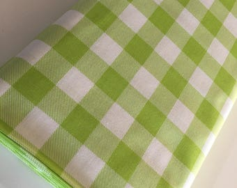 Buffalo Check fabric, Lime Plaid fabric, Buffalo Check Party Decor, Quilting Sewing, 1 inch Buffalo Plaid in Lime, You Choose the Cut
