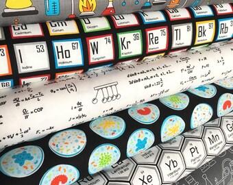 Quilting Fabric, Science fair fabric bundle, Periodic table, biology, surgery cap fabric, nurse, chemistry, bundle of 6, choose the cut