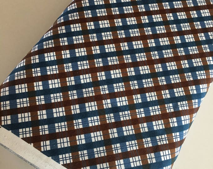 Outdoors fabric, Hike Camp Fish Hunt, Boy Room Decor, Baby Quilt, Tree Arrow, Blue Brown, Outdoors Plaid in Brown - Choose the cut