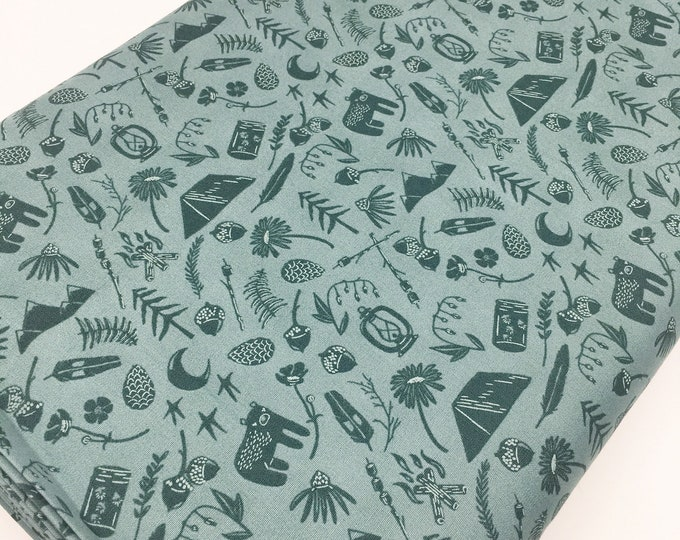 Campsite fabric, Kids or Baby quilt, Feather, Tent, Deer, Firefly, Smores, Art Gallery fabric, Camping Stories, You Choose the Cut