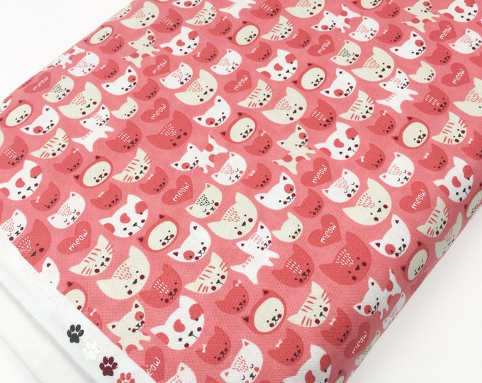SALE fabric, Pet Gift, Cat Fabric, Gift for cat lover, Yardage, Quilting fabric, Sewing fabric, Gift for her, Discount fabric, Cotton fabric