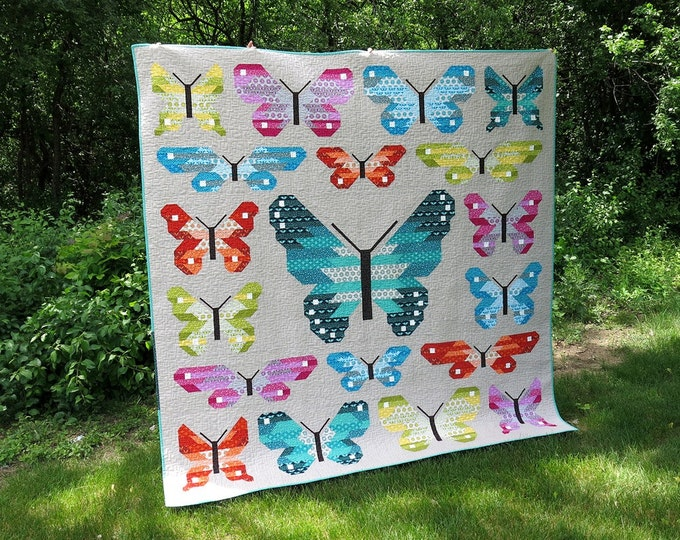 Quilt Kit, Butterfly Woodland, Lepidoptera, Elizabeth Hartman, Pattern and fabrics for Quilt Top, Gift for Quilter