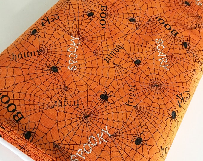 Halloween Fabric, Halloween Party Decor, Skull, Witch, Spider, Fabric by the Yard, Bewitching Spider Webs in Pumpkin, choose the cuts