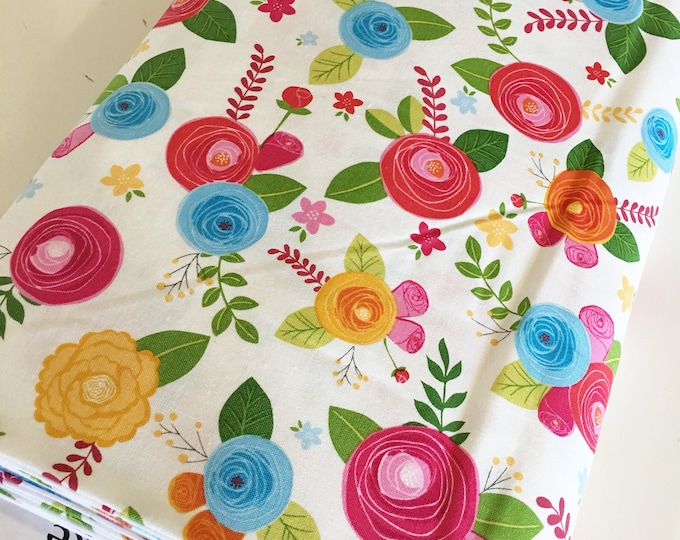 Fabric by the Yard, Simply Happy Floral Fabric, Cute Fabric, Girl Quilt Fabric, Simply Main in White, choose the cut