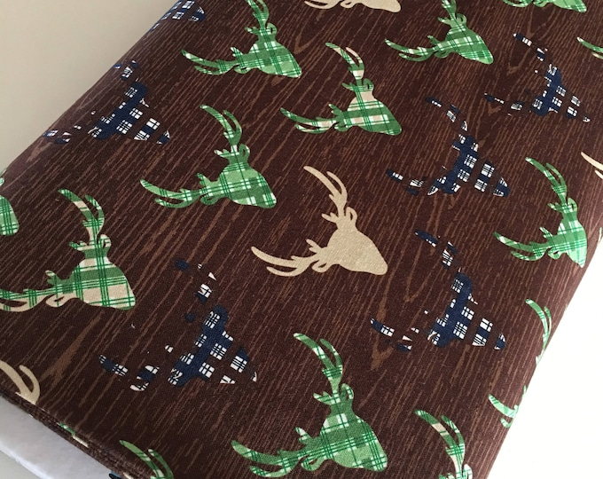 Outdoors fabric, Hike Camp Fish Hunt, Boy Room Decor, Baby Quilt, Tree Arrow, Blue Brown, Outdoors Deer in Brown - Choose the cut