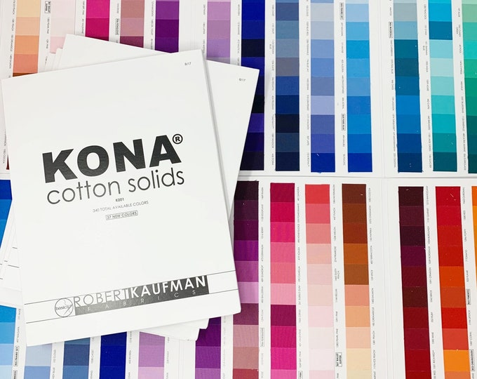 Kona Color Card updated in 2017 with 340 colors, Actual fabric Kona Swatches, Quilting Cotton, Robert Kaufman, Sewing