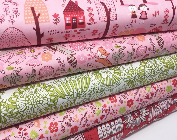 Pink Baby fabric, Woodland Nursery Decor Fabric Bundle of 5- You Choose the Cuts