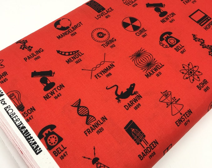 Science Fair Fabric, Surgery Cap fabric, Chemistry, Biology, Science Fabric, School, Nerd, Math Fabric, Symbols in Red, Choose the Cut