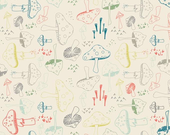 Hello Bear Mushroom fabric, Quilting Crafting, Woodland Nursery, Gender Neutral, Ivory fabric, Morel Grove in Powder- You Choose the Cut
