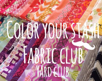 Fabric Club, Color your stash membership with free Aurifil thread, Gift For Her, Quilt Club, Fabric Subscription- 8 Yards per month